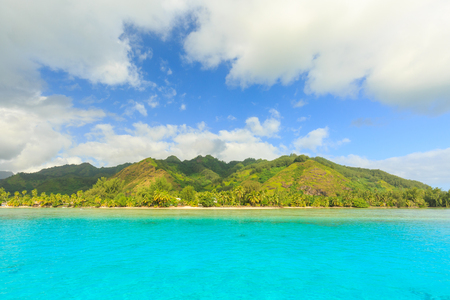polynesia: Beautiful sea and Moorae Island at Tahiti , PAPEETE, FRENCH POLYNESIA Stock Photo
