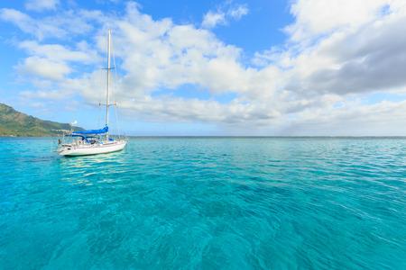 polynesia: Beautiful sea and sailing boat in Moorae Island at Tahiti , PAPEETE, FRENCH POLYNESIA