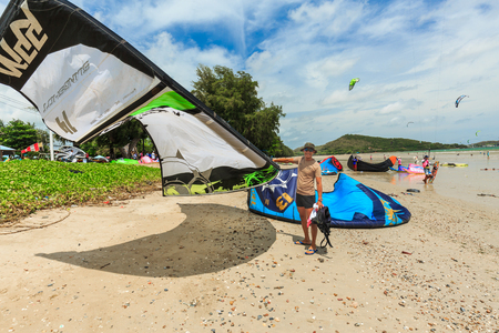 kiteboarding: SATTAHIP, THAILAND - MAY 28, 2016 : The group of kitesurfing are practice for next completition. This is the nice view of sailing and kitesurfing clubs in Sattahip Chonburi, THAILAND on May 28, 2016
