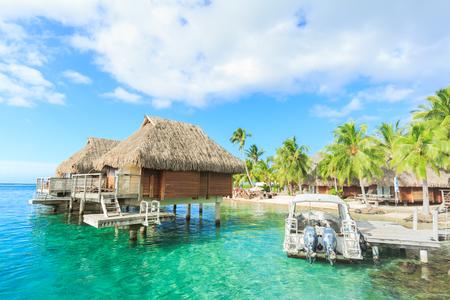 PAPEETE, FRENCH POLYNESIA – JUNE 14, 2016 : The Beautiful sea and resort in Moorae Island at Tahiti PAPEETE, FRENCH POLYNESIA on June 14, 2016 Editorial