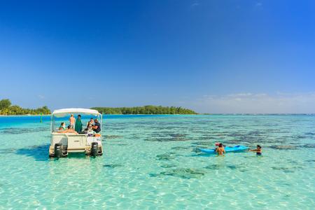 stingrays: PAPEETE, FRENCH POLYNESIA – JUNE 15, 2016 : The Tourists swimming and feeding sharks and Stingrays in beautiful sea at Moorae Island, Tahiti PAPEETE, FRENCH POLYNESIA on June 15, 2016