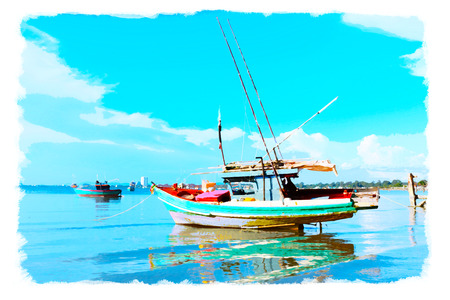 moor: watercolor seascape on watercolor paper, vibrant color filter effect,grunge photo style. Stock Photo