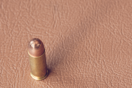 brown leather: bullets on brown leather