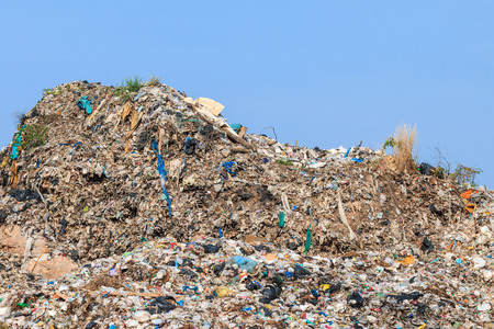 landfill: Pile of domestic garbage in landfill