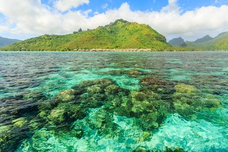 polynesia: Beautiful sea with mountain and resort background in Moorae Island at Tahiti , PAPEETE, FRENCH POLYNESIA Editorial