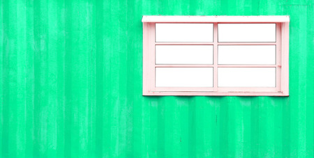 green walls: White window and zinc green walls