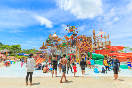 circular blue water ripple: PATTAYA, THAILAND - SEPTRMBER 30, 2016: RamaYana Water Park, New recreation in Pattaya , Thailand. The Park is built to the highest international standards and using only premium equipment.