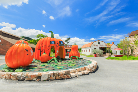 PATTAYA, THAILAND - OCTOBER 06, 2016 : Pumpkin statue at the Swiss Sheep Farm Where is the biggest sheep farm and fun park style in Pattaya