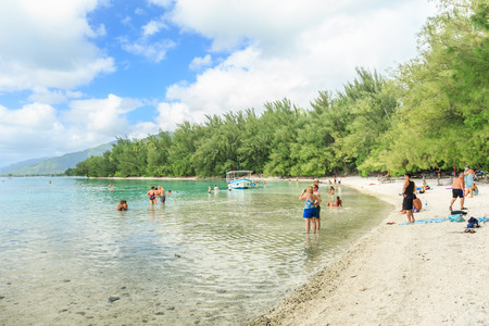 polynesia: PAPEETE, FRENCH POLYNESIA - NOVEMBER 2, 2016 : The Beautiful sea in Moorae Island at Tahiti PAPEETE, FRENCH POLYNESIA