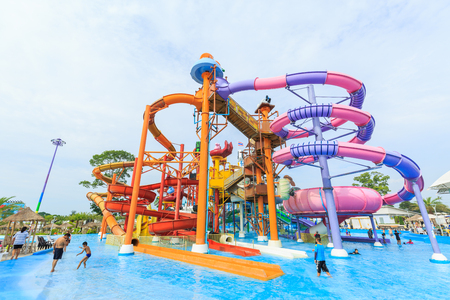 circular blue water ripple: PATTAYA, THAILAND - DECEMBER 05, 2016: Cartoon Network Amazone Water Park, New recreation in Pattaya Thailand. Park create from cartoon character on Cartoon Network channel