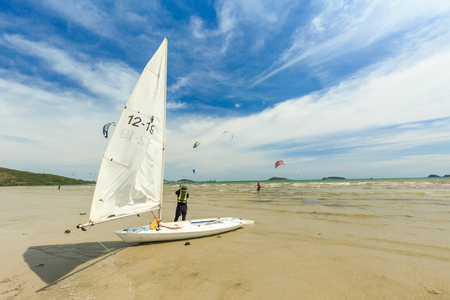 kiteboarding: SATTAHIP, THAILAND - DECEMBER 05, 2016 : The group of Kitesurf and windsurf are practice for next completition. This is the nice view of sailing and kitesuef clubs in Sattahip Chonburi, THAILAND