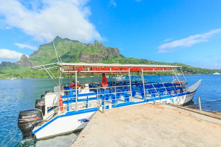 polynesia: PAPEETE, FRENCH POLYNESIA - DECEMBER 11, 2016 : The Beautiful sea , resort and boat in Moorae Island at Tahiti PAPEETE, FRENCH POLYNESIA