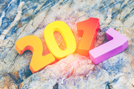 Wooden number of 2017 for new year celebrations