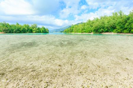 polynesia: The Beautiful sea and resort in Moorae Island at Tahiti PAPEETE, FRENCH POLYNESIA. Stock Photo