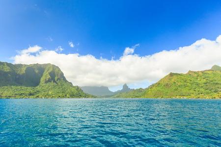 Beautiful sea and Moorae Island at Tahiti , PAPEETE, FRENCH POLYNESIA Stock Photo