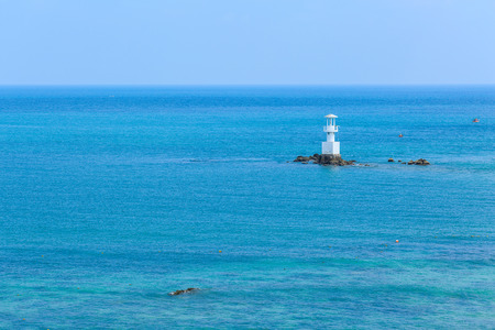 sea and lighthouse at Smaesarn in Thailand