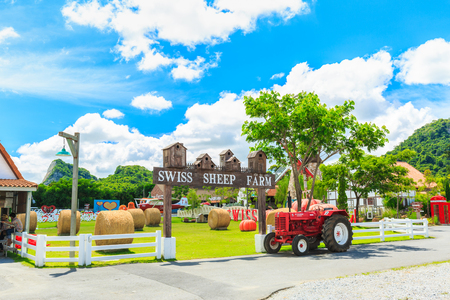 PATTAYA, THAILAND - APRIL 1, 2017 : The Swiss Sheep Farm Where is the biggest sheep farm and fun park style in Pattaya