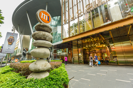 ORCHARD ROAD, SINGAPORE - APRIL 2, 2017: Front store of the biggest GUCCI in Singapore on the shopping street on Orchard Road open for tourist. Editorial