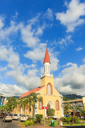 PAPEETE, FRENCH POLYNESIA - APRIL 6, 2017 : A view of Church in the town of Papeete early in the morning in Tahiti Papeete, French Polynesia. Editorial