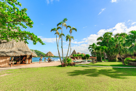 PAPEETE, FRENCH POLYNESIA – JUNE 28, 2017: The Beautiful sea and resort in Moorea Island at Tahiti PAPEETE, FRENCH POLYNESIA. Editöryel