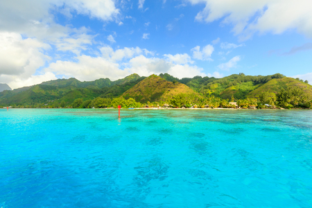 Beautiful sea with mountain and resort background in Moorae Island at Tahiti , PAPEETE, FRENCH POLYNESIA Stock Photo