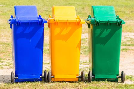 Three plastic bin in the park Stock Photo