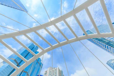BANGKOK , THAILAND - JULY 9, 2017 : Bridge link between MRT and BTS mass transportation in heart of Bangkok newly modern important land mark of city life in Bangkok Thailand.