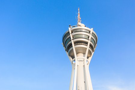 PERLIS, MALAYSIA - JULY 24, 2017: Alor Setar Tower, telecommunication tower in Alor Setar with the cloud and the blue sky in Kedah, Malaysia. Stock Photo