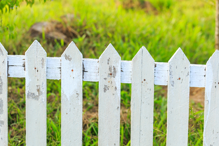 Close up old white fence in garden Stock Photo