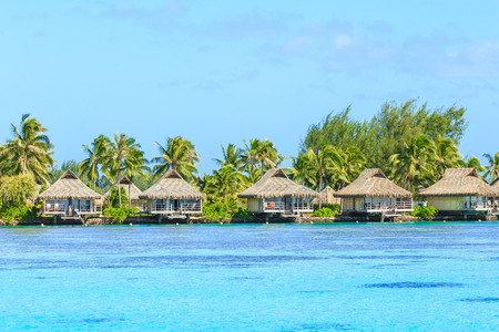 caras emociones: PAPEETE, FRENCH POLYNESIA – AUGUST 23, 2017 : The Beautiful sea and resort in Moorea Island at Tahiti PAPEETE, FRENCH POLYNESIA. Editorial
