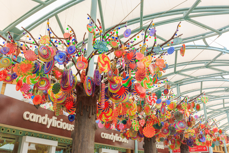 SENTOSA SINGAPORE - APRIL 15,2017 :  colorful candy on tree at Resorts World Sentosa in Sentosa Island, Singapore.