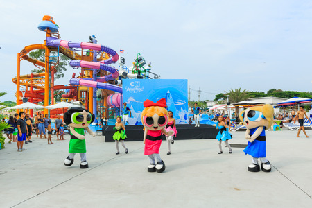 PATTAYA, THAILAND - OCTOBER 31, 2017: Cartoon show at Cartoon Network Amazone Water Park, New recreation in Pattaya Thailand. Park create from cartoon character on Cartoon Network channel