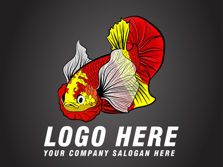Cartoon Betta fish with Text logo