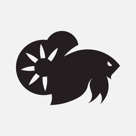 Plakad Betta Fish  Vector Golden Ratio.