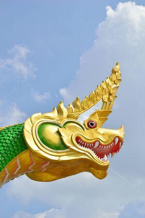 green head nagas in the thai temple