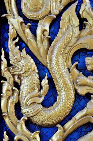 thai Carving naka art Stock Photo