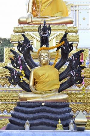 Buddha and seven naka statue Stock Photo