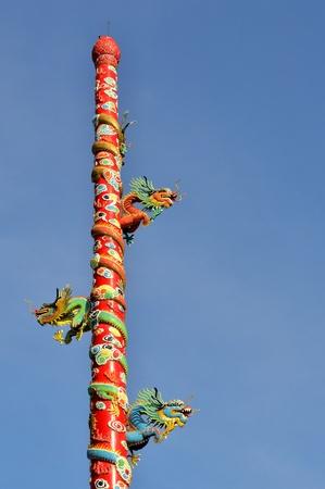 three The Dragon Pole statue Stock Photo