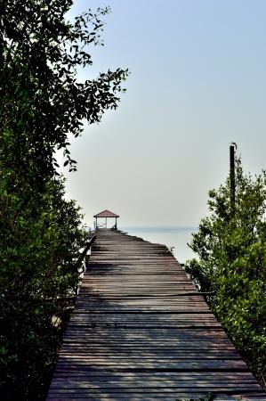Wooden footbridge  to Pavilion onthe sea Stock Photo
