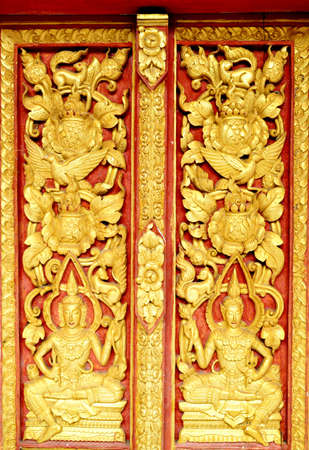 thai art angle Carved doors in the tample