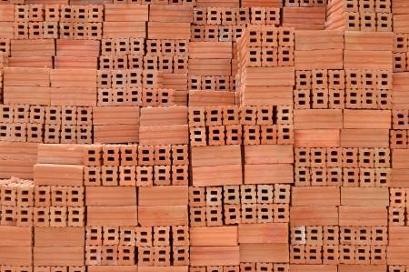 Brick pile on a construction photo