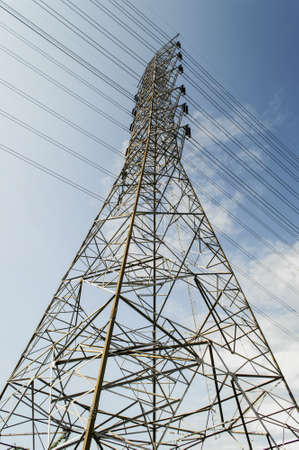 High voltage power and power line with blue sky Stock Photo - 21212817