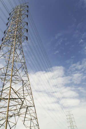 High voltage pole  and Power lines against the sky Stock Photo - 21211176