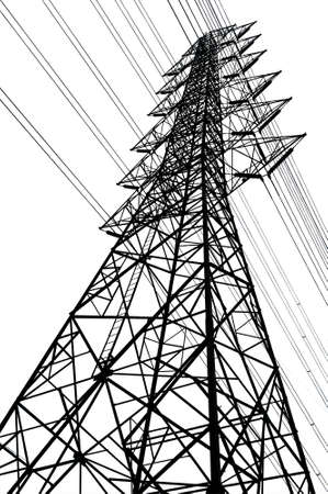 black high voltage tower with isolate white background Stock Photo - 21685321