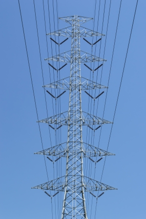 High voltage power and power line with blue sky Stock Photo - 21685339