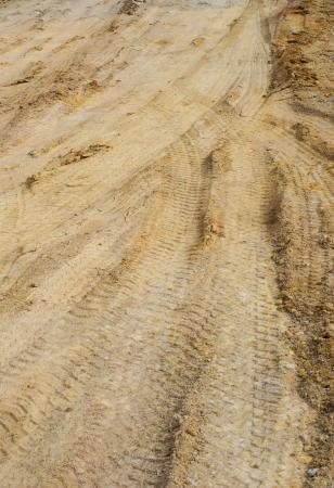muddy tracks: Wheel tracks on the soil Stock Photo