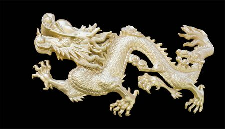 Golden Chinese Dragon carve isolate black background  photo