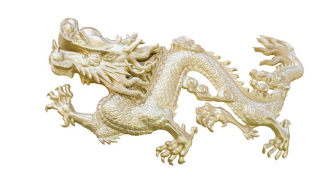 Golden Chinese Dragon carve isolate white background Stock Photo - 21859257