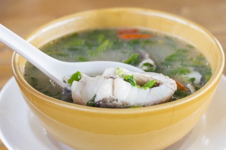 thai food snakehead fish Hot and sour soup  photo