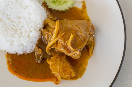 Thai food, Chicken massaman curry with  rice photo
